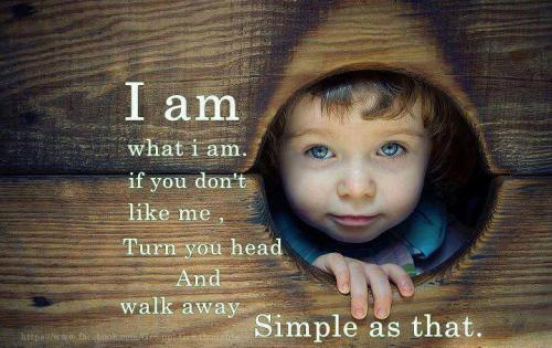 I am  What I am. if you don't like me, Turn around your head and walk away   simple as that
