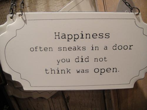 Happiness always sneaks in a door you did not think was open