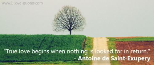 True love begins when nothing is looked for in return.