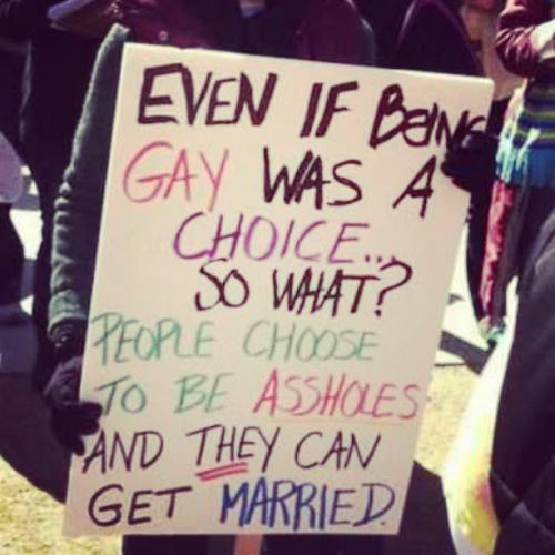 Even if being gay was a choice... so what? People choose to be assholes and they can get married!