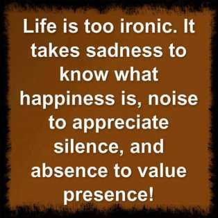 Life is too ironic. It takes sadness to know what happiness is, noise to appreciate silence, and absence to value presence!