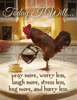 Today I will. Pray more, worry less, laugh more, stress less, hug more and hurry less.
