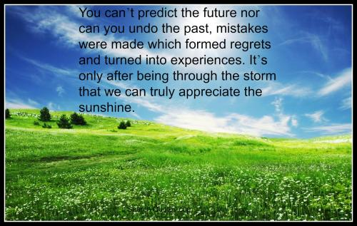 You cant predict the future nor can you undo the past, mistakes were made which formed regrets and turned into experiences. It's only after being through the storm that we can truly appreciate the sunshine.