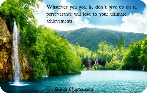 Whatever your goal is, don't give up on it, perseverance will lead to your ultimate achievements.