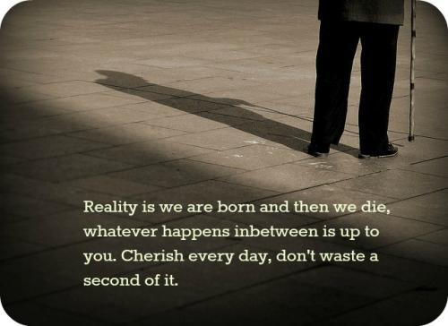 Reality is we are born and then we die, whatever happens in between is up to you. Cherish every day, don't waste a second of it.