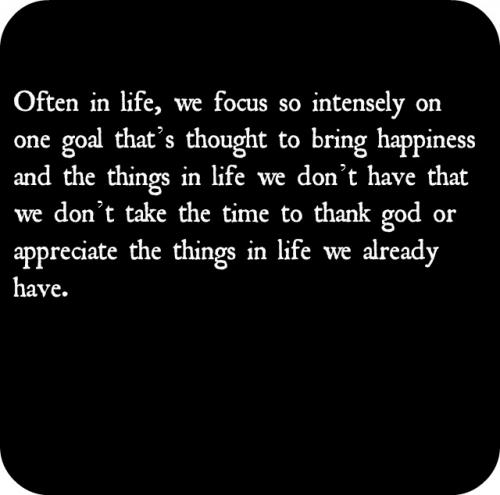 Often in life, we focus so intensely on one goal thats thought to bring happiness and the things in life we dont have that we dont take the time to thank god or appreciate the things in life we already have.