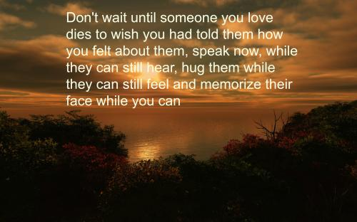 Don't wait until someone you love dies to wish you had told them how you felt about them, speak now, while they can still hear, hug them while they can still feel and memorize their face while you can still see their smile.