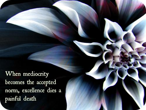 When mediocrity becomes the accepted norm, excellence dies a painful death.