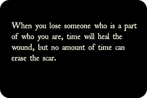 When you lose someone who is a part of who you are, time will heal the wound, but no amount of time can erase the scar.