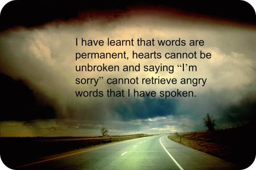 I have learnt that words are permanent, hearts cannot be unbroken and saying I'm sorry cannot retrieve angry words that I have spoken.