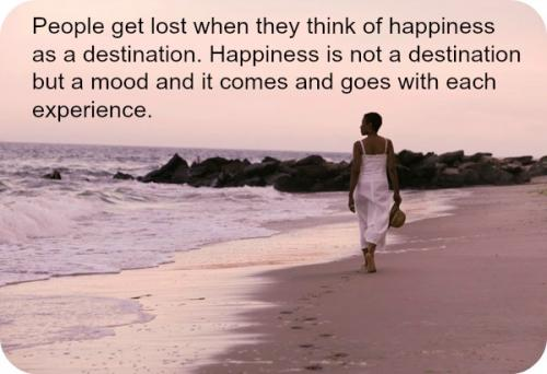 People get lost when they think of happiness as a destination. Happiness is not a destination but a mood and it comes and goes with each experience.