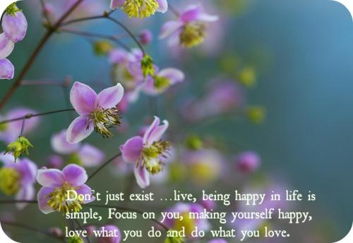 Don't just exist... live, being happy in life is simple, Focus on you, making yourself happy, love what you do and do what you love.
