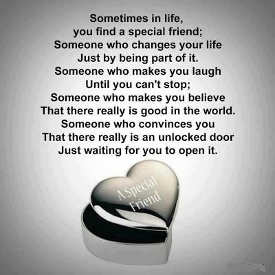 Sometimes in life, you find a special friend; Someone who changes your life just be being part of it. Someone who makes you laugh until you can't stop; someone who makes you believe that there really is good in the world. Someone who convinces you that there really is an unlocked door just waiting for you to open it.