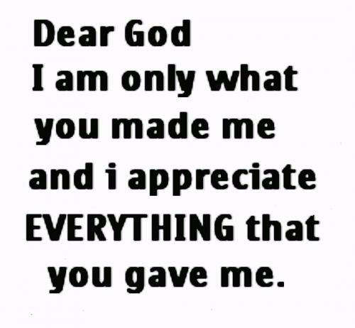 Dear God, I am only what you made me, and I appreciate everything that you gave me!