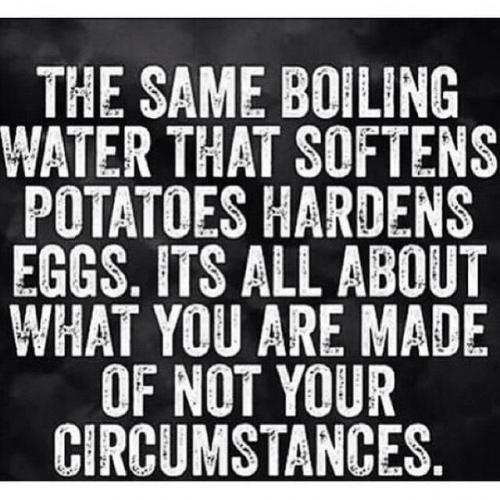 The same boiling water that softens potatoes, hardens eggs.
