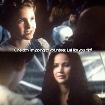...That part really touched my heart while watching hunger games... I bet, I'm going to volunteer too if I was on the same situation...