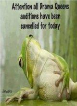 Drama queens auditions have been cancelled for today.