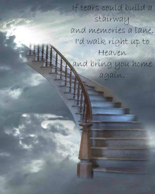If tears could bring a stairway and memories a lane,,, I would walk right up to HEAVEN and bring you home again...@_@