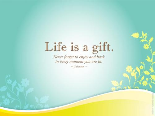 Life is a gift. Never forget to enjoy and bask in every moment you are in.
