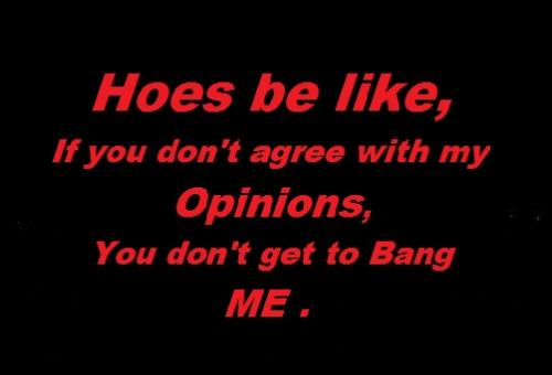 Hoes be like, If you don't agree with my Opinion.. you don't get to bang me.