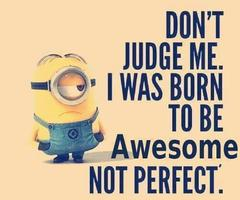 Don't judge me. I was born to be AWESOME. not perfect