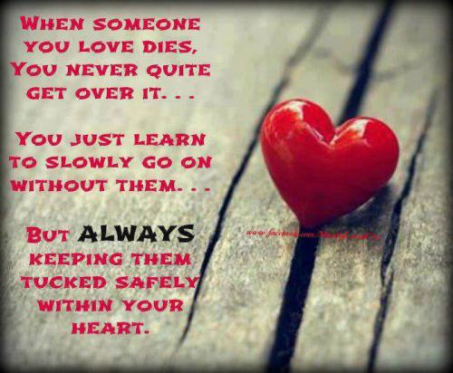 When Someone you love dies , you never quite get over it...You just learn to slowly  go on without them...BUT   always keeping them  tucked safely within your HEART....