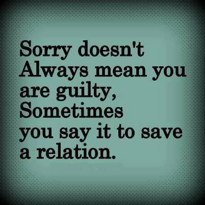 Sorry  doesn't always mean you are guilty, Sometimes you say it to save your a relation.