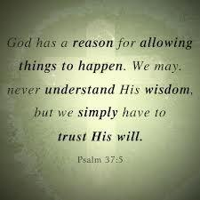 God has a reason for allowing things to happen. We may never understand his wisdom, but we simply have to trust his will. Psalms 37.5