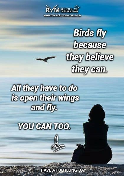 Birds fly because they believe they can. All they have to do is open their wings and fly. You can too.