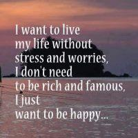I Want To live Life Without Stress And Worries,  I don't Need To Be Rich And Famous, I just Want To Be Happy...