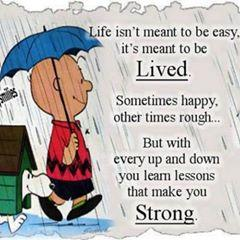 Life isn't meant to be easy. It's meant to be lived. sometimes happy other times rough. But with every up and down you learn lessons that make you strong.
