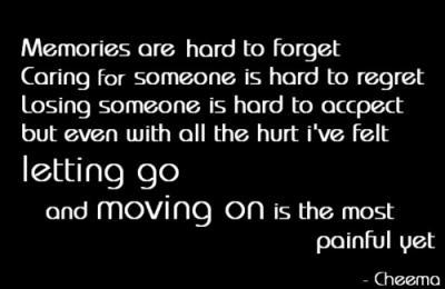 Memories are hard to forget. Caring for someone is hard to regret. Losing someone is hard to accept, but even with all the hurt I've felt letting go and moving on is the most painful yet.