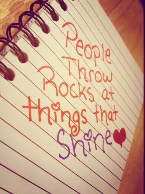 People throw rocks at things that shine. :)