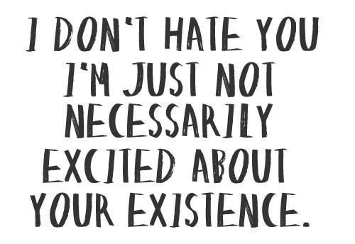 I don't hate you I'm just not necessarily excited about your existence.