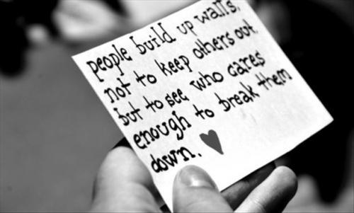 People build up walls, not to keep others out but to see who cares enough to break them down.