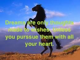 Dreams are only thoughts made to wishes, unless you purssue them with all your heart.