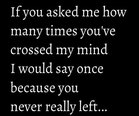 If you asked me how many times you've crossed my mind I would say once because you never left...