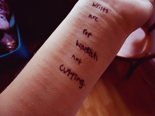 wrists are for bracelets not cutting <3