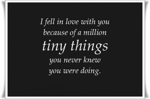 I fell in love with you because of a million timy things, you never knew what you were doing