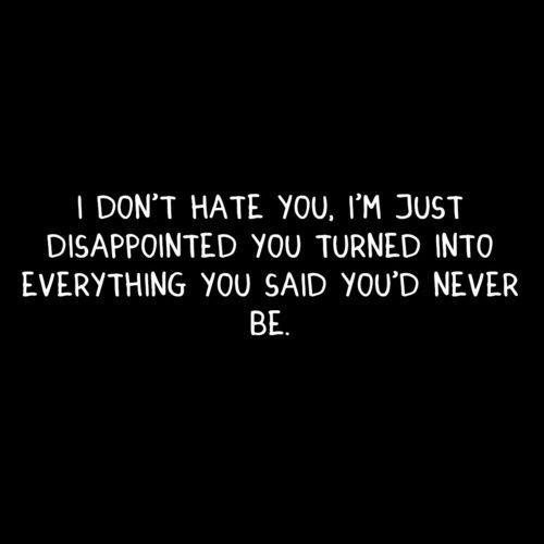 ''I don't hate you, I'm just disappointed you turned into ...