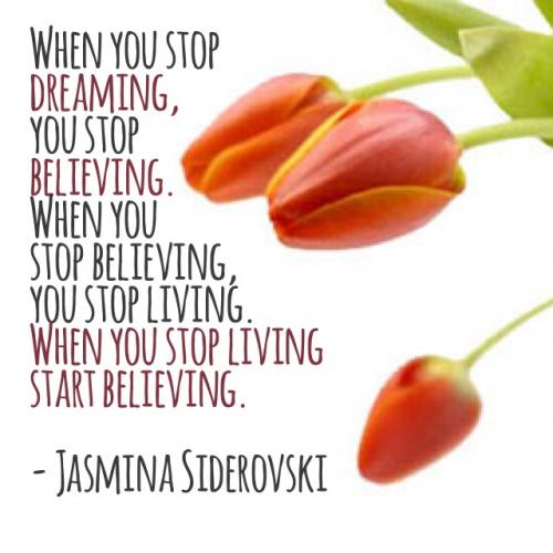 When you stop dreaming, you stop believing. When you stop believing, you stop living. When you stop living, start believing.