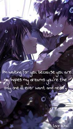 I'm waiting for you because you are my hopes my dreams you're the only one I'll ever want and need.