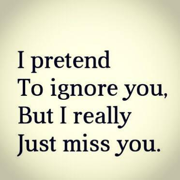 I pretend to ignore you , but I really just miss you.