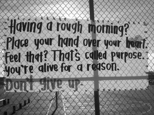Having a rough morning? Place your hand over your heart...feel that? That's called purpose. You're alive for a reason; Don't give up.