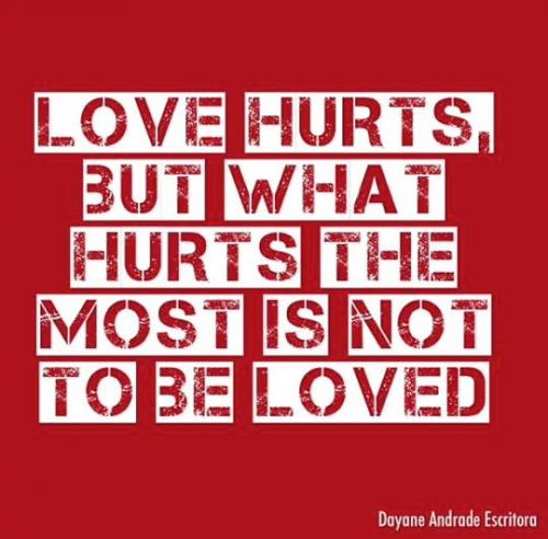Love hurts but what hurts the most is not to be Loved.