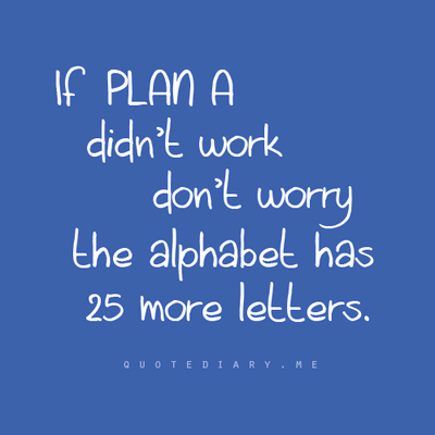 If a plan A didnt work dont worry the alphabet has 25 more letters.
