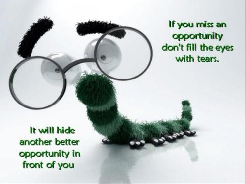If You Miss An Opportunity, Don't Fill The Eyes With Tears.