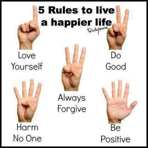 5 Rules to Live a Happier Life  Love yourself, Do Good, Always Forgive, Harm No One, Be Positive.