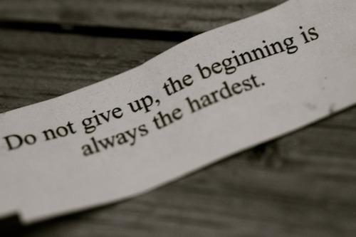Don't give up, the beginning is always the hardest.