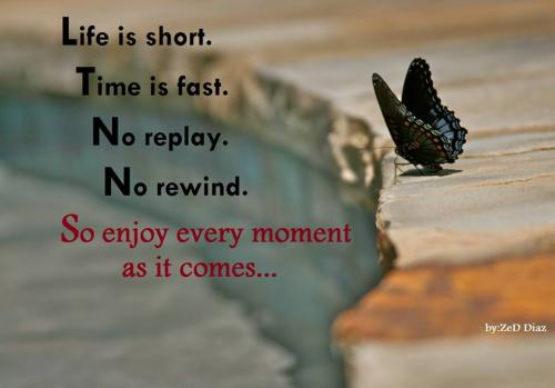 Life is short. Time is fast. No replay. No rewind. So enjoy every moment as it comes.